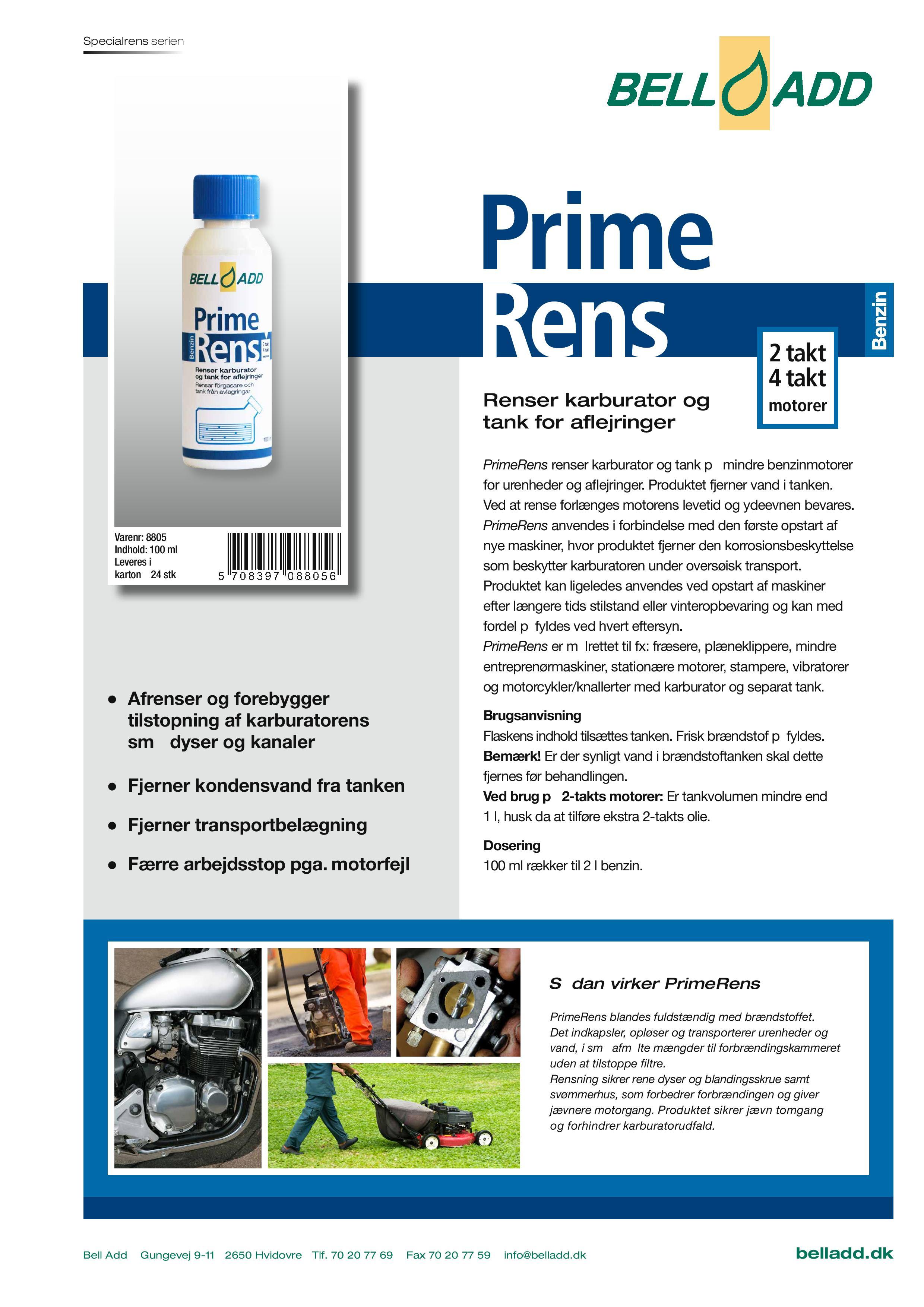 Instruktion i brugen af Bell add prime rens