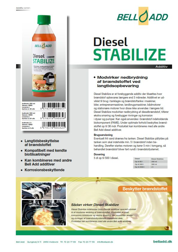 Instruktion Bell Add Diesel Stabilize